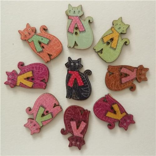 50 шт смешанные животные 2 отверстия деревянные пуговицы для скрапбукинга поделки DIY Детские аксессуары для шитья одежды пуговицы украшения - Цвет: Tie cat