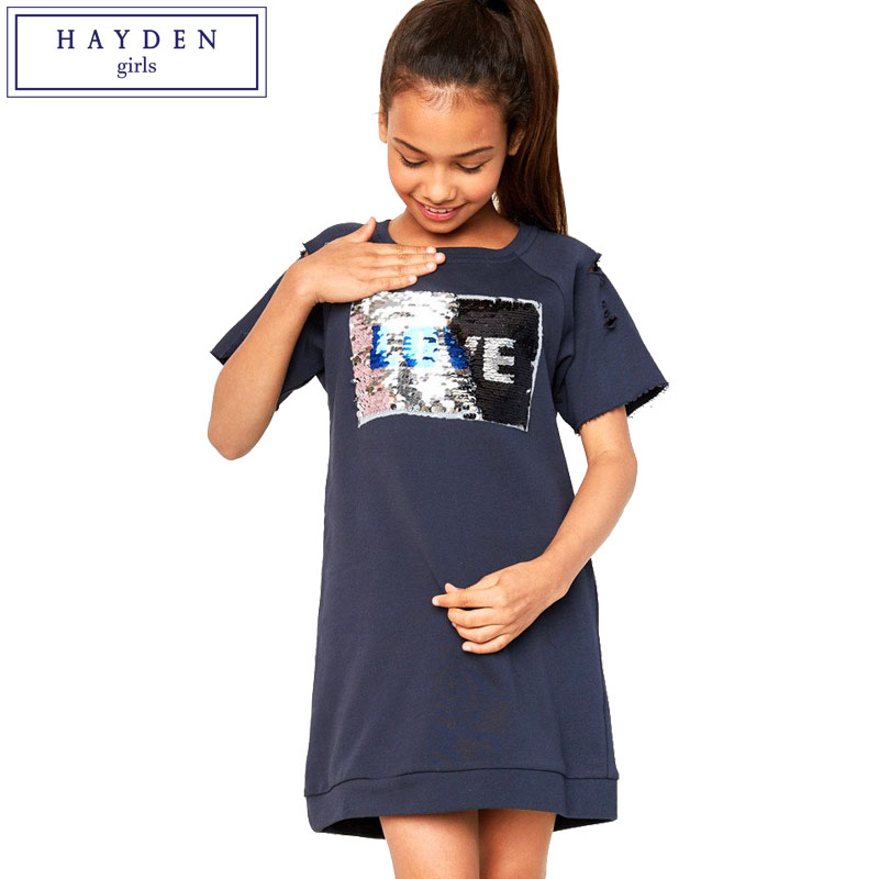 HAYDEN Girls Sequin Dress Summer 2017 Short Sleeve Sweatshirt Dress Teen Girl Kids Fashion Casual Dresses 7 to 14 Years Clothes hayden teen kids long sleeves dress for girls 12 years flower print ruffle girl dresses chiffon fall spring 2017 new arrival