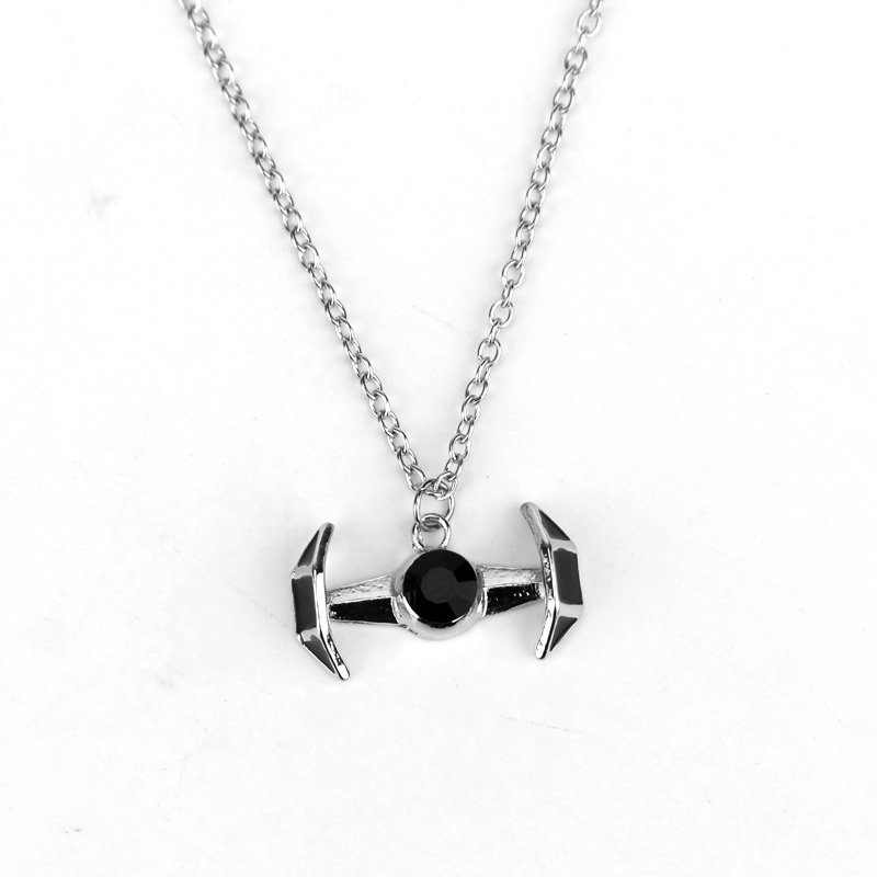 MQCHUN 2018 Simple fashion hot movie charm gift Star War Tie Fighter Necklace Tibetan Black Crystal Men Necklace