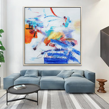 Modern abstract acrylic canvas painting hand pained abstract color art painting Wall Art Pictures For Living