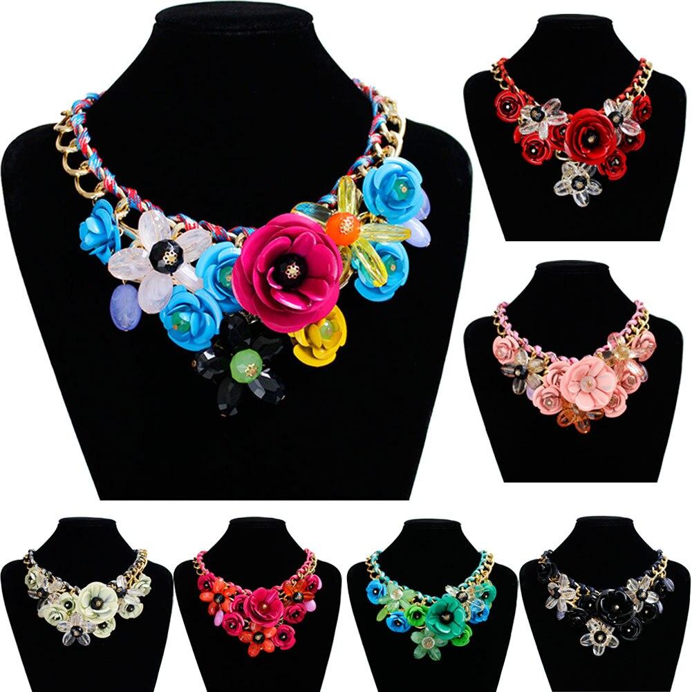 New Fashion Women Big Weave Chain Rhinestone Crystal Flower Bib Statement Necklace Choker 88 @M23