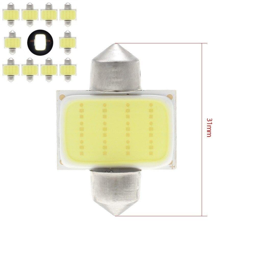 kebedemm 10pcs/lot 31mm 36mm 39mm 41mm Car COB 1.5W DC12V Interior Car LED Bulbs Lamp Interior Dome Lights Plate lamps Bulb