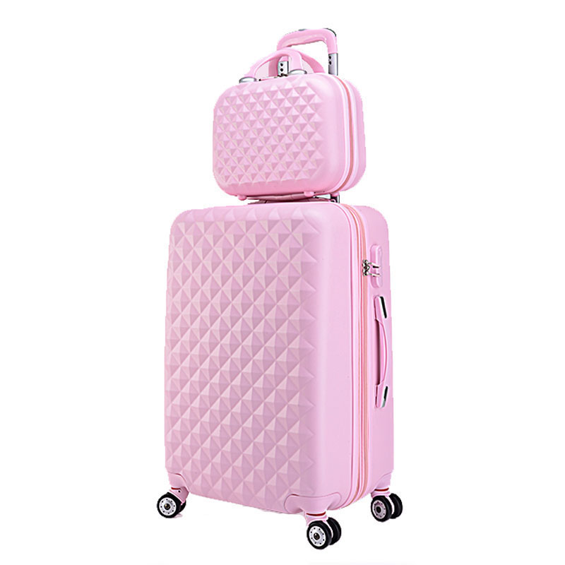 20+12Hot sales Diamond lines Trolley suitcase set/travell case luggage/Pull Rod trunk rolling spinner wheels/ ABS boarding bag