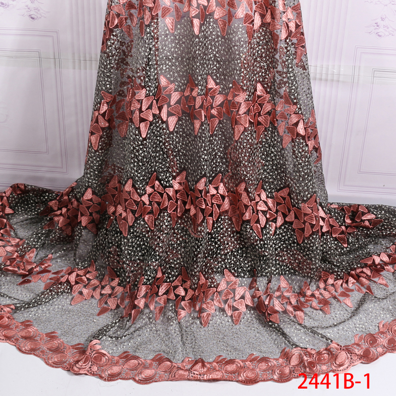 African French Lace Fabric 2019,High Quality Lace Pink Lace Fabric, Nigerian Tulle Laces Fabrics With Stones For Dress KS2441B-1