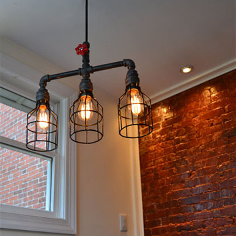 Loft Vintage Industrial American Country Water Pipe Edison Pendant Light Resturant Hotel Bar Home Decor Modern Lighting Fixture loft vintage nostalgic industrial lustre water pipe edison wall sconce lamp resturant hotel bar stair home decor modern lighting