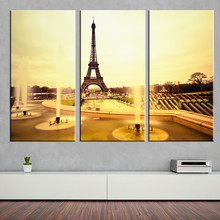 Frameless Canvas Painting Tower Sunset Fountain Oil Picture Wall Sticker Scenery A4 Art Print Poster Modern Home Decoration 3ps