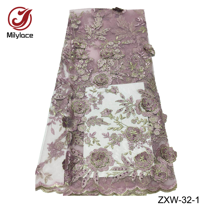 Embroidery french lace fabric 5 yards per lot 3d flowers rhinestones and beads tulle lace nigerian
