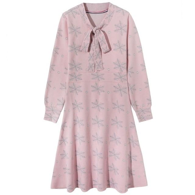 Festa Rosa Elbise Flak Abito Vestido Maglia Delle Manica Colore Lunga Modo Dress Sexemara Donne Nuovo De Di Vestito Neve 2018 qT7vUwRa