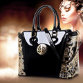 Red Wine japanned leather shiny shaping bag bucket bag women's handbag 2016 women's  fashion handbag messenger bag   Q2