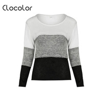 Clocolor Women T Shirt Straight Round Neck Long Sleeve Color Block Pullover Top 2018 Casual Summer
