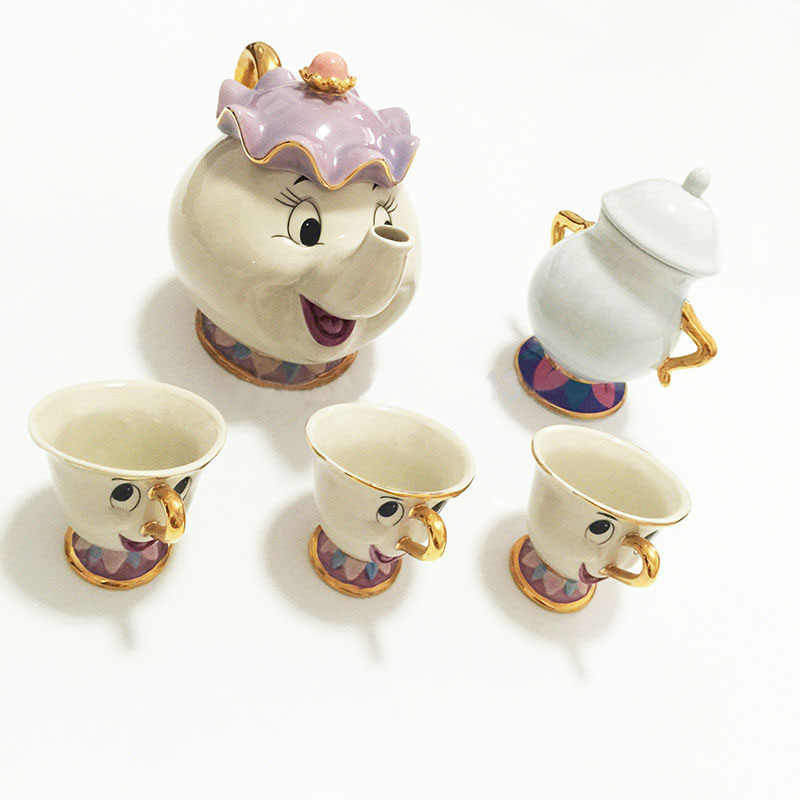 Cartoon Beauty And The Beast Tea Set Mrs Potts Teapot Chip Cup Sugar Bowl Cogsworth Pot Set Coffee Kettle Birthday Xmas Gift