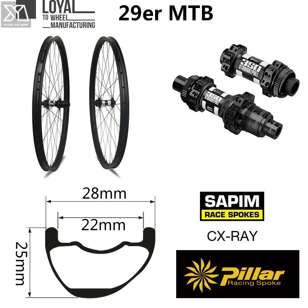 DT Swiss 350 Series 29er Carbon Mountain Bike Wheel XC MTB Wheelset Tubeless QR or Boost Available Sapim CX Ray Spoke