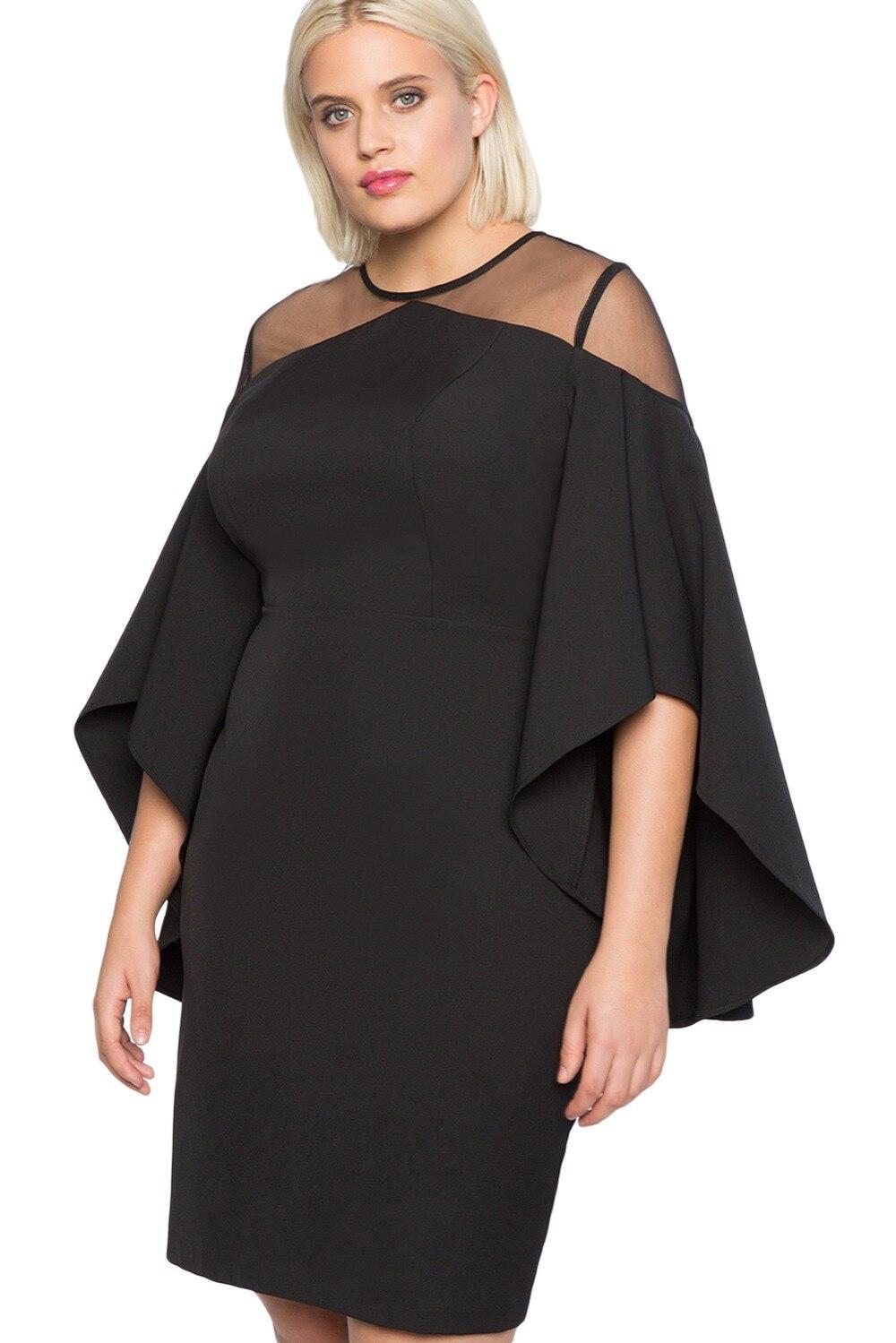 Black-Mesh-Illusion-Cold-Shoulder-Plus-Size-Dress-LC220395-2-2