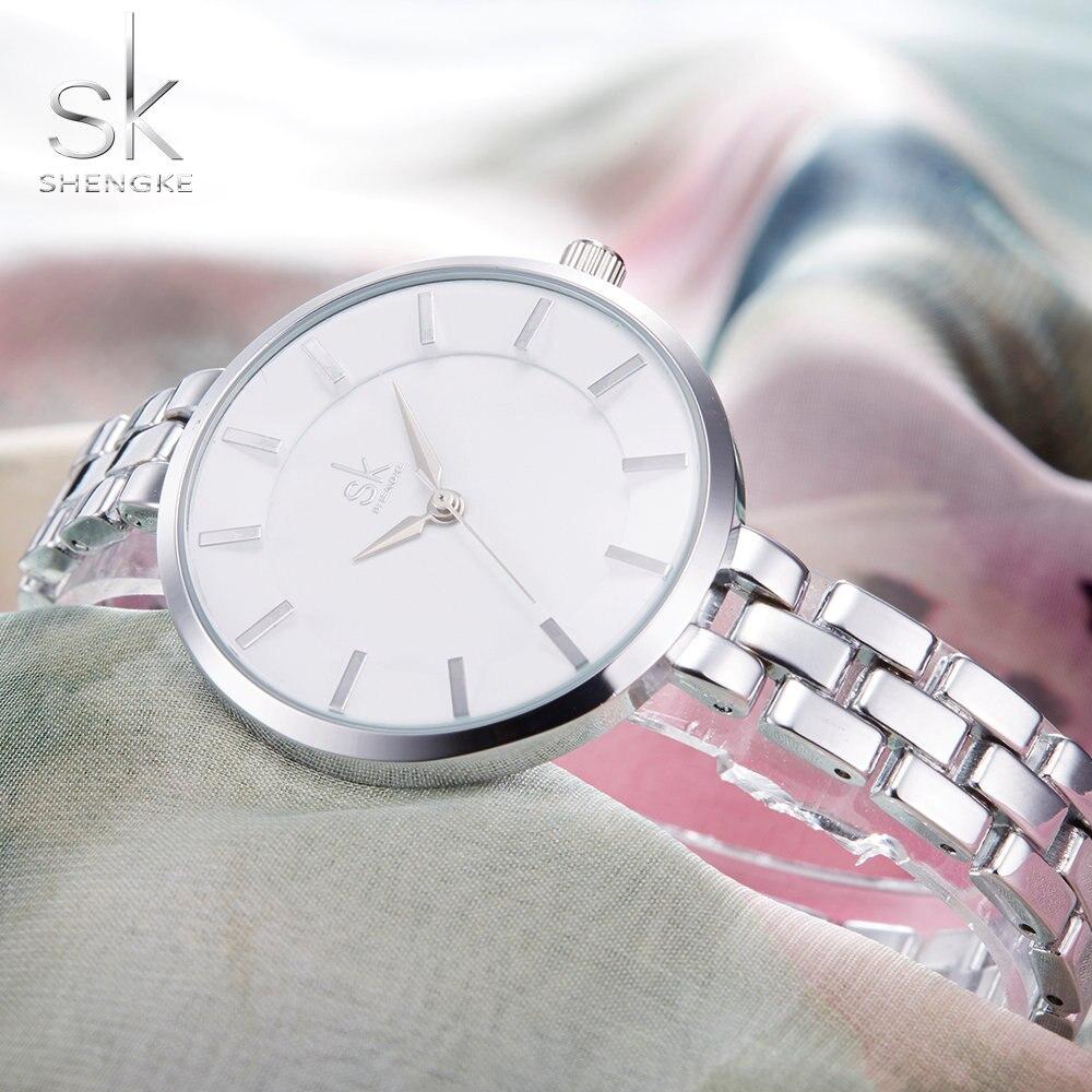 SHENGKE De Luxe Bracelet Robe montres Relogio Feminino Horloge Montre Femmes Genève Quartz Horloge Femme Montre De Luxe