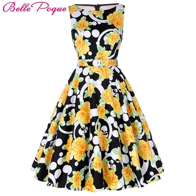 3d6f3f1600b3b Belle Poque Print Floral 50s 60s Vintage Dresses Audrey Hepburn 2017 ...