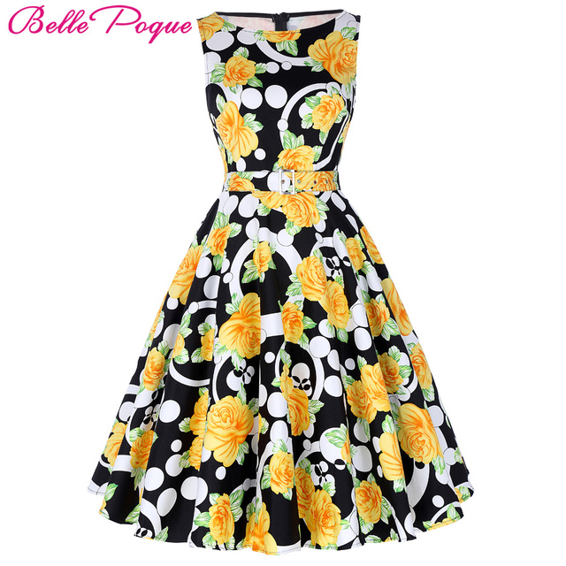 31d84b8b10a Belle Poque Print Floral 50s Vintage Dresses Audrey Hepburn 2018 Women  Summer Retro Dress vestidos robe Womens Casual Clothing