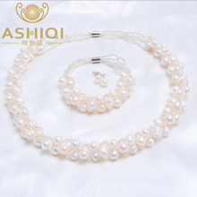 4 Colors Natural Freshwater pearl Jewelry Sets Real pearl Necklace Earrings Bracelet Jewelry Sets for women