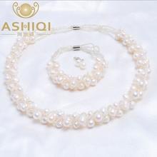 AAA Natural perlas de agua dulce Collar / Pendientes / Pulsera Colocación perfecta, Conjuntos de joyas al por mayor
