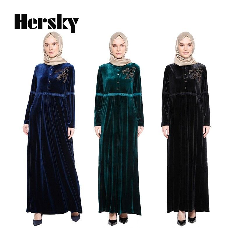 Turkey Velvet Abaya Muslim Dress Women Islamic hijab Clothing Turkish Hot Drilling Loose Clothes Robe Musulmane dresses Vestido