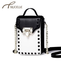 Nucelle Women Genuine Leather Shoulder Bags Ladies Fashion Rivet Lock Chain Small Crossbody Bags Female Mini