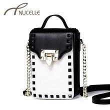 Фотография Nucelle Women Genuine Leather Shoulder Bags Ladies Fashion Rivet Lock Chain Small Crossbody Bags Female Mini Tote Bolsas NZ5831