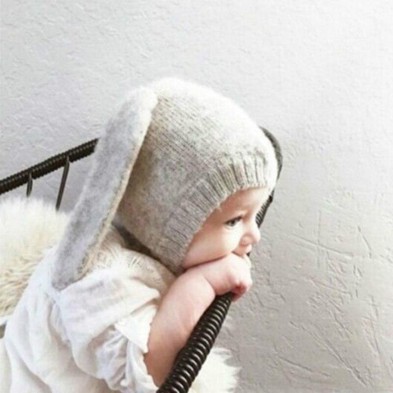 Toddler Kids Baby Boy Girl Knitted Crochet  Beanie Hat Cap Rabbit Ear Warm Cap