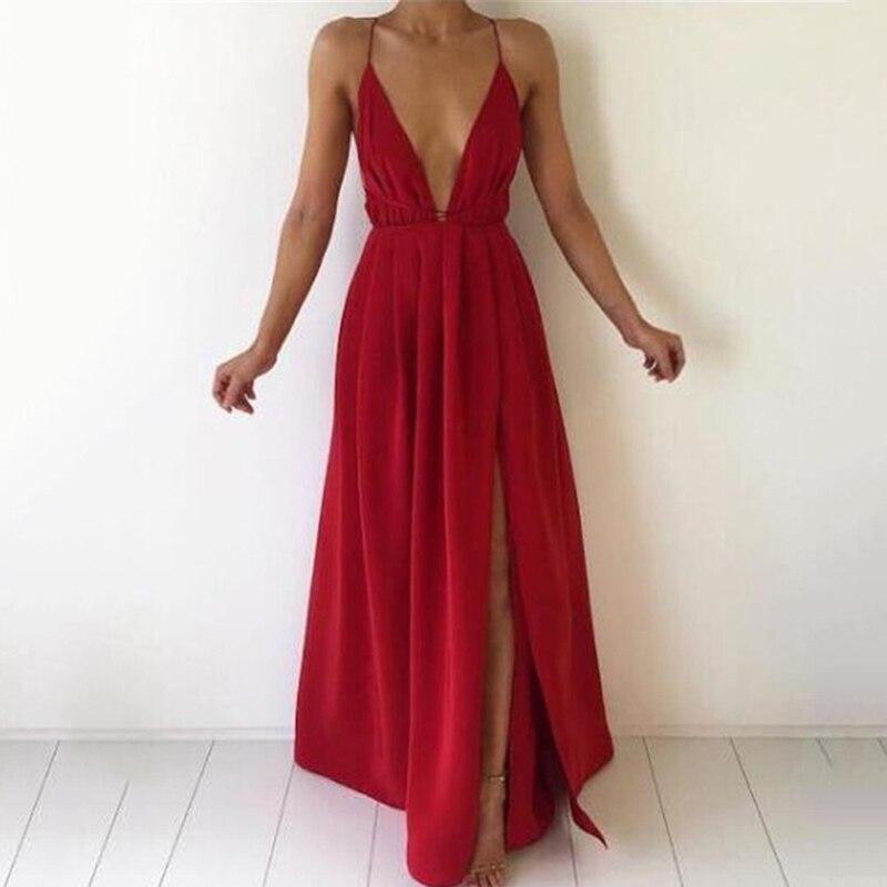 Летнее платье макси, женское однотонное сексуальное платье с глубоким v-образным вырезом, без рукавов, на бретельках, с открытой спиной, с вы...