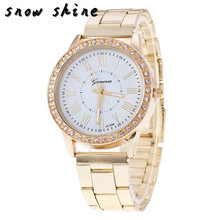 snowshine #10xin   Luxury Women Crystal Stainless Steel Quartz Analog Wrist Watch  free shipping