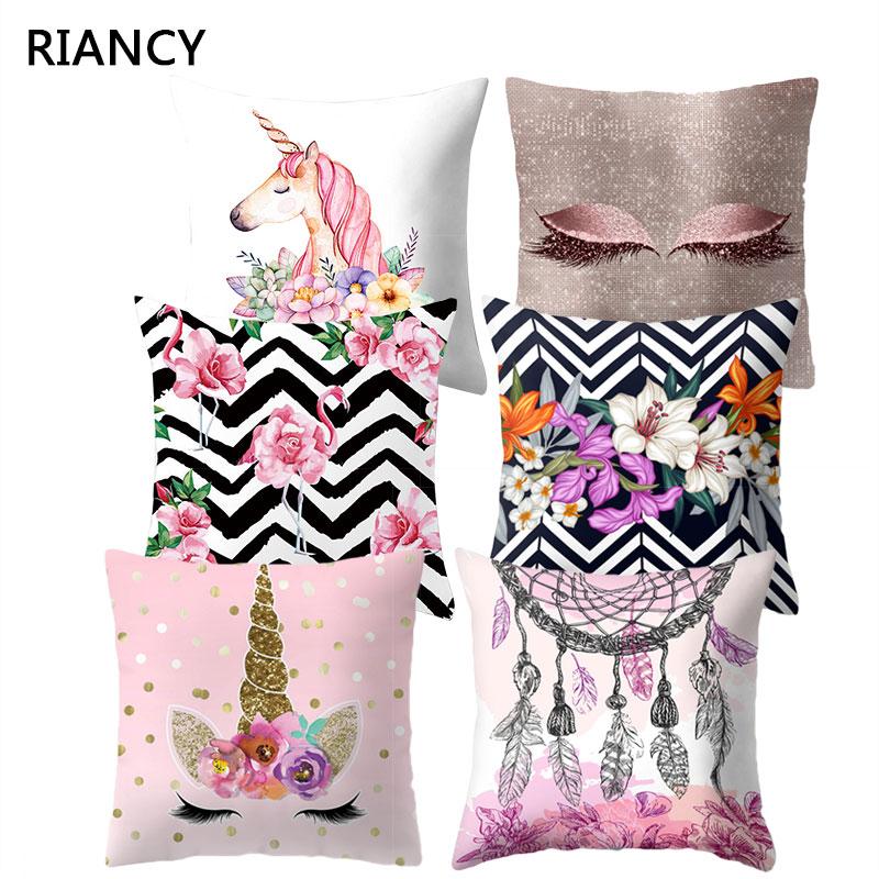 Eyelash Tropical Flamingo Pink Flower Pattern Decorative Pillows Monstera Cushion Cover Polyester Pillowcase Pillowcover 40527