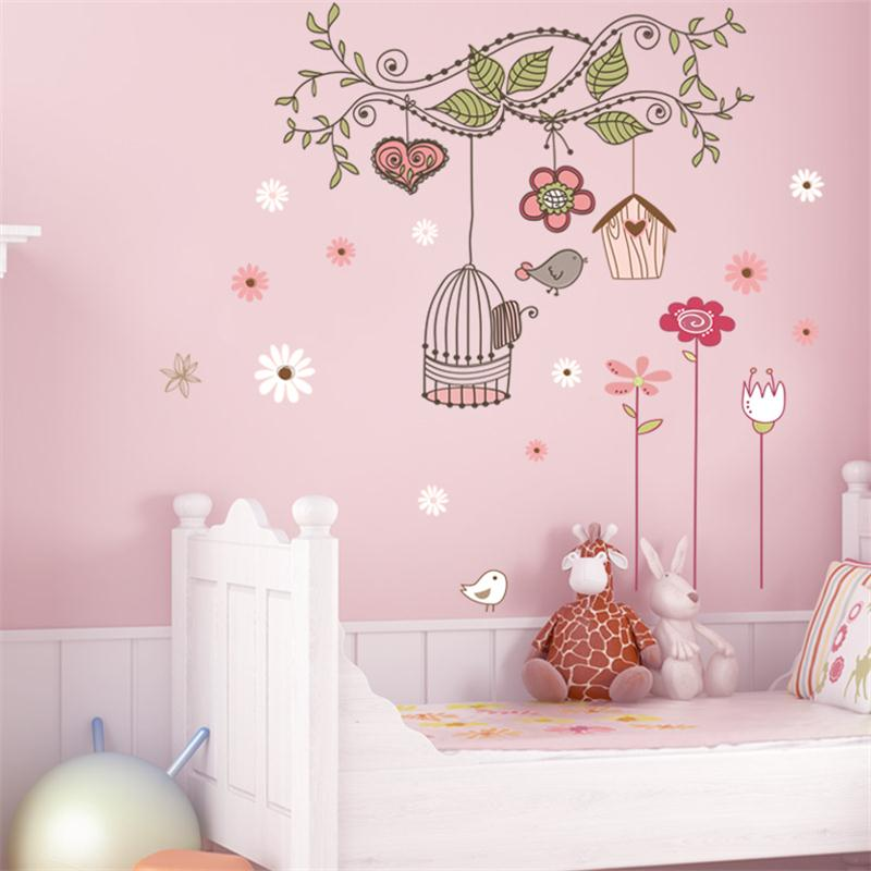 Cartoon Animals Flower Bird Cage Pvc Wall Stickers Baby Room Living Room Bedroom Home Decorations House Sticker Wallpaper