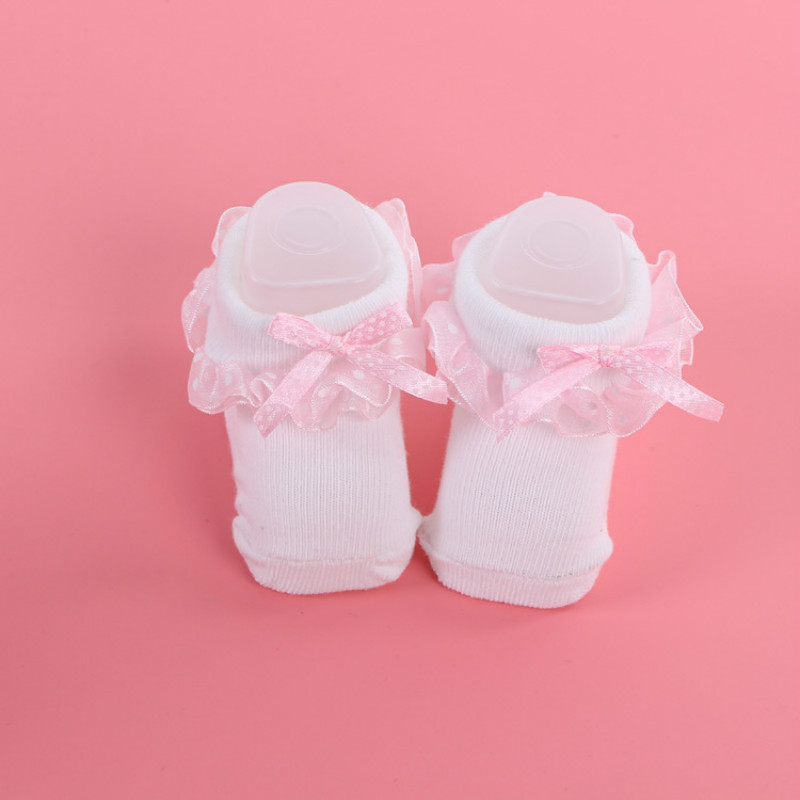 2017 spring autumn gift newborn baby socks flanging lace bow knot Japan Korea princess kids sock for 0-6 months baby girl socks