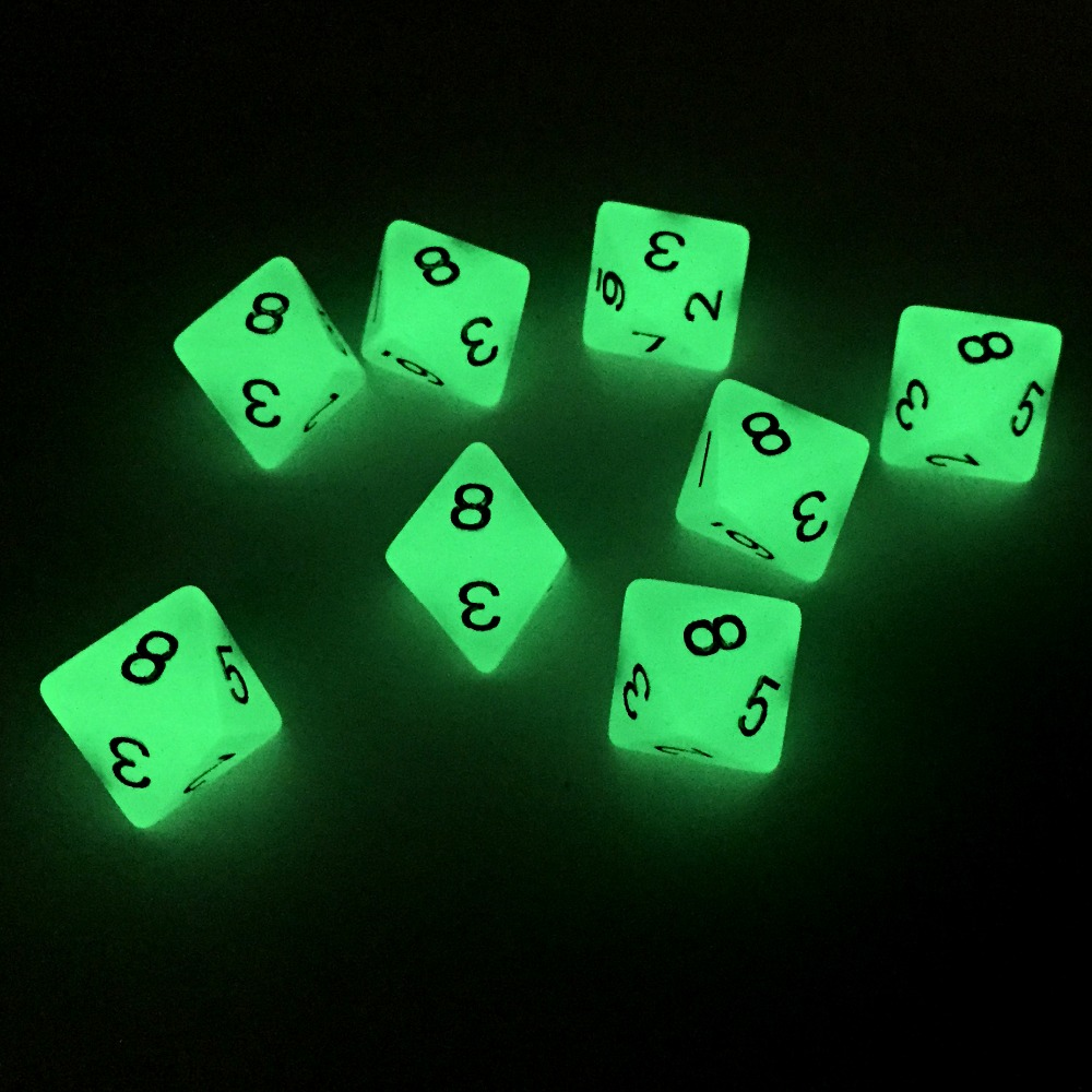 Rollooo Roleplaying Dice Polyhedral 8 Sided Glow In The Dark 8d8/set