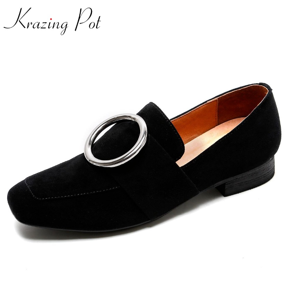 KRAZING POT sheep suede streetwear square heels round buckle slip on gladiator women pumps square toe office  shoes L28 krazing pot empty after shallow shoes woman lace work flats pointed toe slip on sheep suede causal summer outside slippers l16