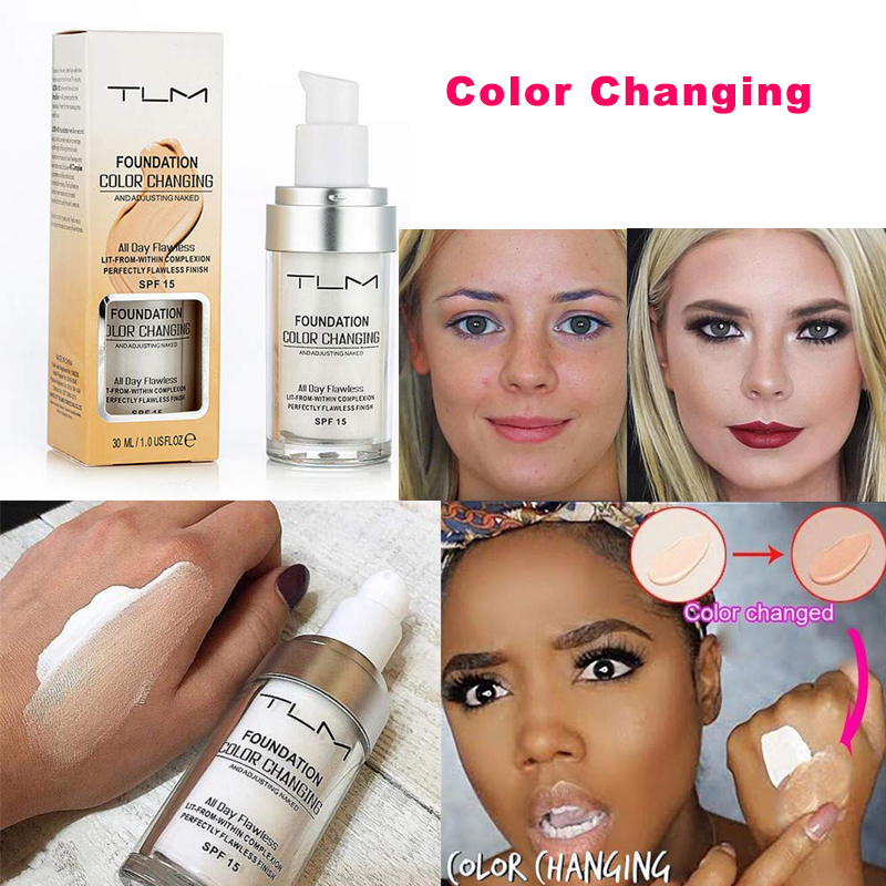Hot!!! Free Shipping TLM Brand Color Changing Foundation SPF15 Liquid Foundation Base Makeup Concealer Cream Nude Face Cosmetics