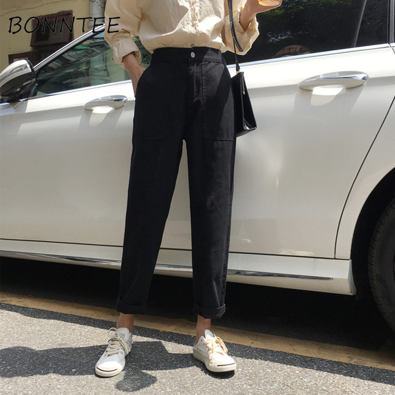 Jeans Women Elastic High Waist Big Pockets Loose Casual Womens Wide Leg Trousers Students Denim Fashion New Style All-match Chic
