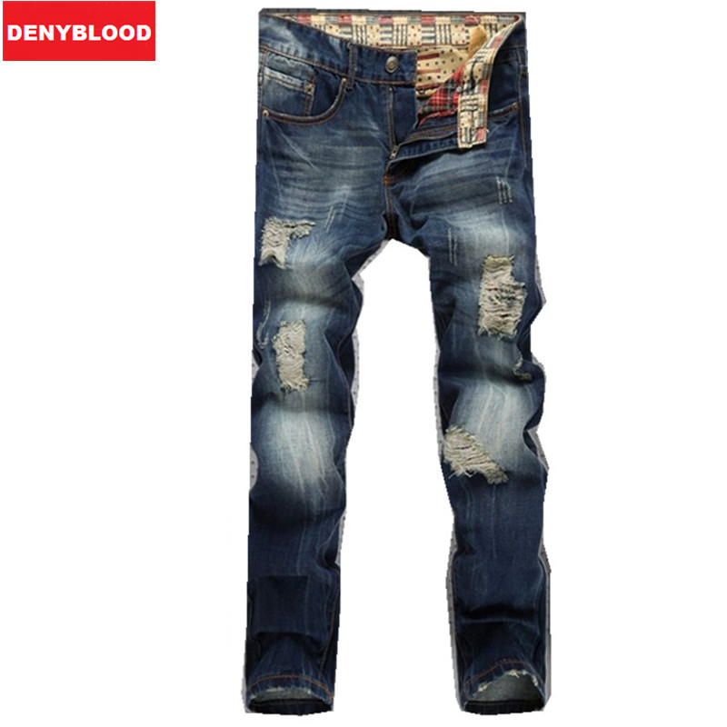 b26e61a102d02 aeProduct.getSubject(). Mens Distressed Jeans Ripped Slim Straight Pants  Darked Wash Jeans Male Hole Baggy Vintage Denim Casual Pant Trousers 953