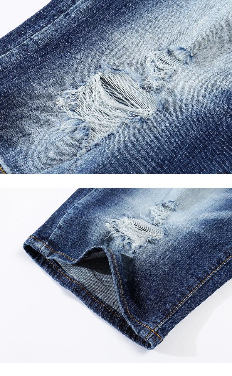 KSTUN Ripped Jeans for Men Streetwear Light Blue Elasticity Washed Partten Broken Holes Distressed