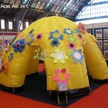 Блестящий дизайн желтый надувной купол seedpod разноцветные цветы, купол событий для торговых шоу