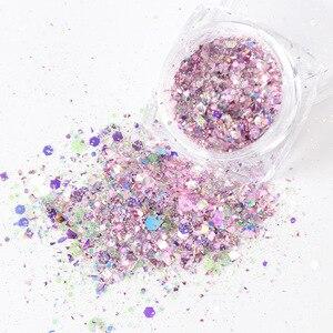 Image 4 - 1 kutu Nail Mermaid Glitter gevreği Sparkly 3D altıgen renkli payetler payetler lehçe manikür çivi sanat süslemeleri TRDJ01 12