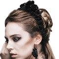 Popularidad Gótica Cinco Rosas Diablo Moda Marca Flor Venda Elástico Del Pelo del Hairband de Las Mujeres Negro Rosa Headwear Accesorios AS024
