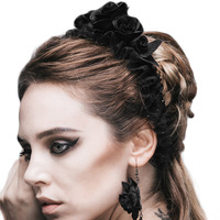 Popularity Gothic Five Roses Hairband Women S Fashion Devil Brand Flower Elastic Head Band Black Rose