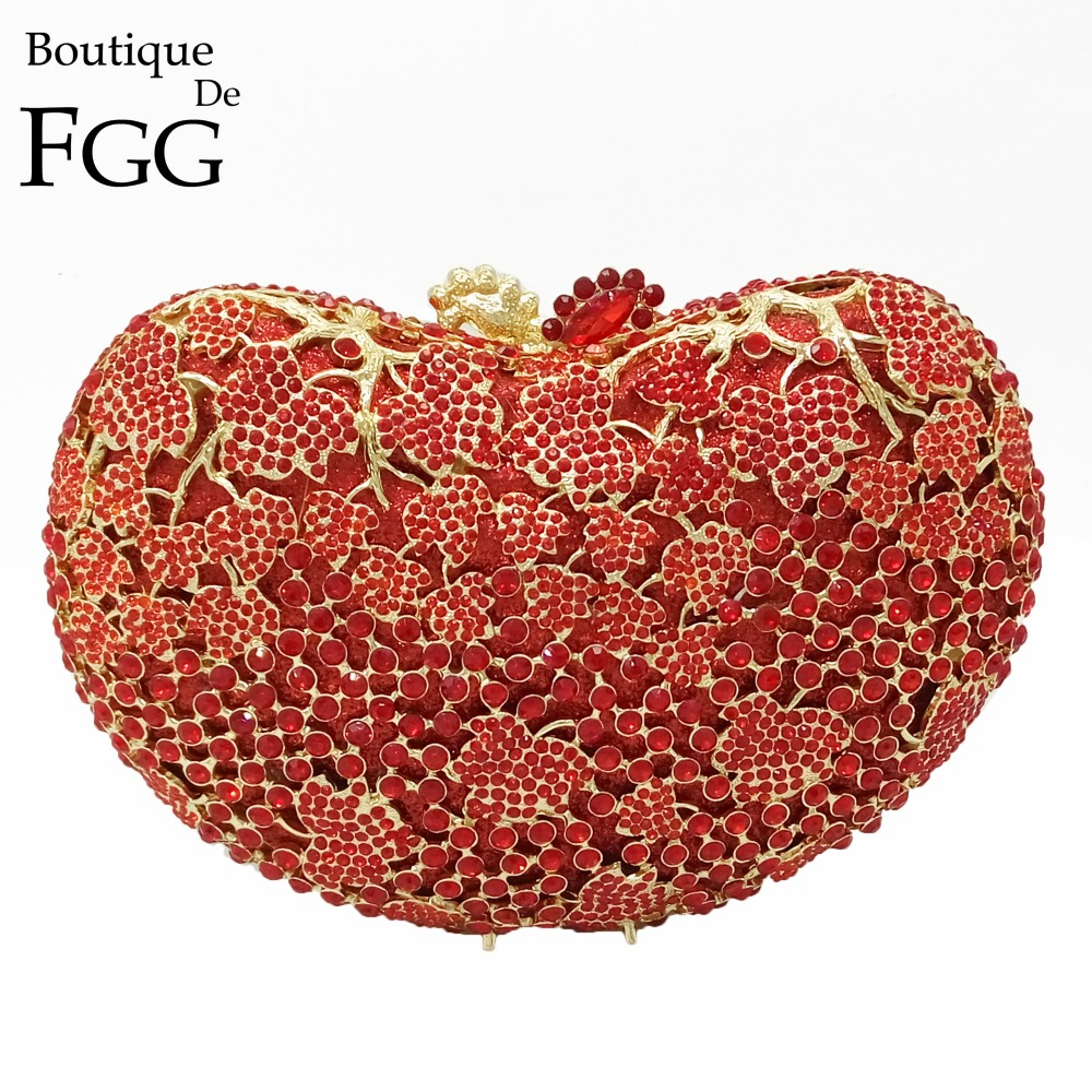 ФОТО Women Red Ruby Crystal Hollow Out Evening Bags Bolso Clutch Dorado Wedding Cocktail Party Handbags and Purse Metal Clutches