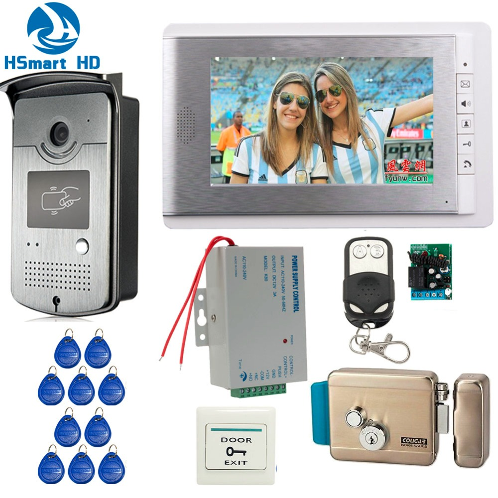 Home Wired 7 Inch Video Door Phone Intercom Entry System 1 Monitor RFID Access IR Camera Electric Control Lock