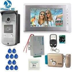 Home Wired 7 pulgadas Video puerta teléfono intercomunicador sistema de entrada 1 Monitor + 1 RFID acceso IR Cámara + Control eléctrico cerradura de puerta