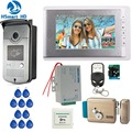 Thuis Bedraad 7 inch Video Deurtelefoon Intercom 1 Monitor + 1 RFID Toegang IR Camera + Elektrische controle Deurslot