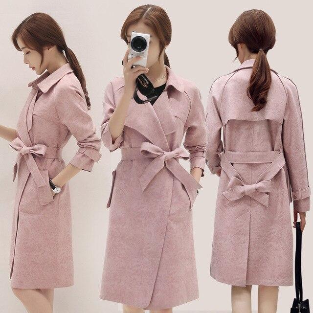 Замша, бархат пальто куртки женские 2017 Весной и зимой новый Корейский Тонкий длинными рукавами пальто замши