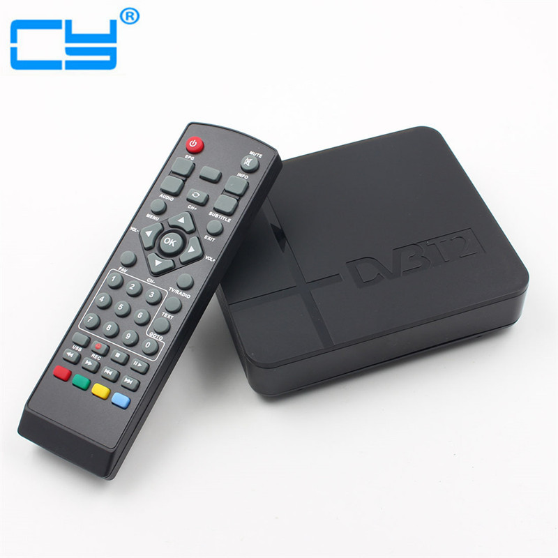 HD 1080P USB 2.0 MPEG4 H.264 AV IR Tuner Mini DVB T2 Digital Terrestrial Receiver/Mini Set Top Box For RUSSIA/Europe/THAILAND mini hd dvb t2 terrestrial digital tv receiver support 3d black