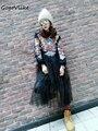 Primavera femenina del punk rock águila apliques gasa empalmado dress carácter fresco malla suelta hoodies l237