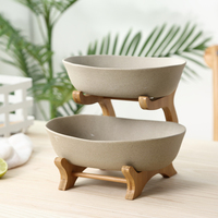 Two Tiers Frosted Ceramic Serving Bowl Decorative Pottery Dinner Plate Bamboo Dinnerware Centerpiece for Fruit, Salad and Snack