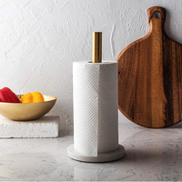 Nordic Marble Gold plated Kitchen Napkin Holder Kitchen Paper Holder Countertop Creative Roll Holder Toilet Paper Organizer